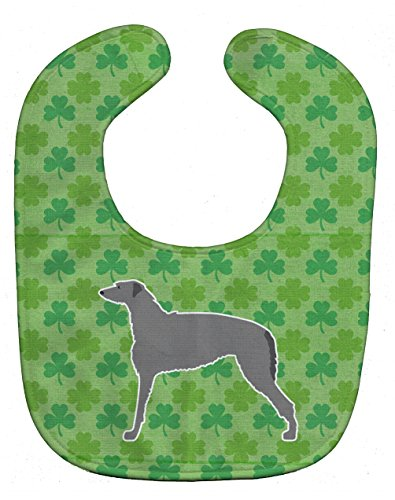 Caroline's Treasures Shamrocks Baby Bib, Scottish Deerhound, Large