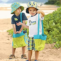 Zeroyoyo Children Toys Sand Collect Toys Mesh Bag Tote Beach Storage Shell Net Bag (S 9.4\