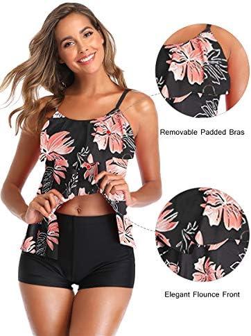 Summer Mae Women 2 Piece Flounce Printed Top with Boyshorts Tankini Bathing Suits