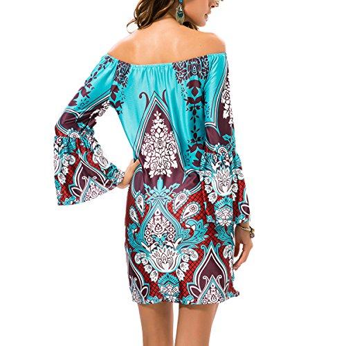 Vestidos de Verano Mujer Cover Up Ropa Boho Cuello barco Estampado Floral Étnico Vestido de Playa Fiesta Casual Beach Estilo 3