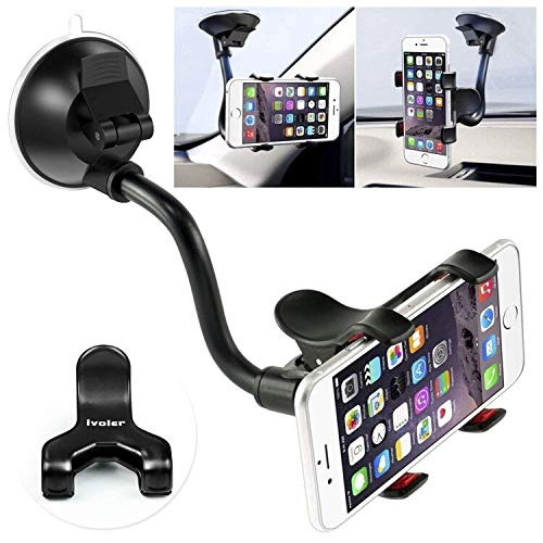 Car Phone Mount Windshield, Long Arm Clamp iVoler Universal Windshield with Double Clip Strong Suction Cup Cell Phone Holder Compatible iPhone 12 11 Pro XS Max X 7 8 6 Plus Galaxy S9 S8 S7 Note 9 10