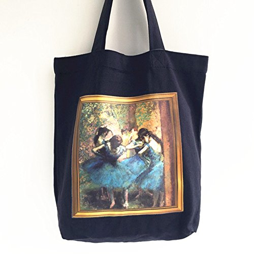 Canvas Tote Bag with Magnetic Button and Inner Pocket, Cotton Shopping Bag with World Famouse Painting(Edgar Degas-ballet-BLK) (Degas Ballet Bag)