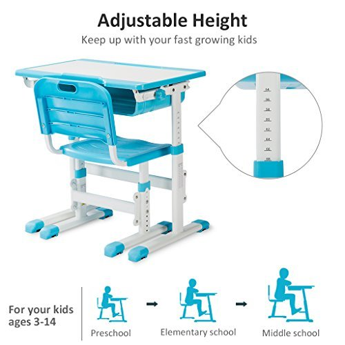 Slypnos Ergonomic Adjustable Children's Desk and Comfortable Chair Set Specially Designed for Children Age 3-14, Blue by Slypnos (Image #4)