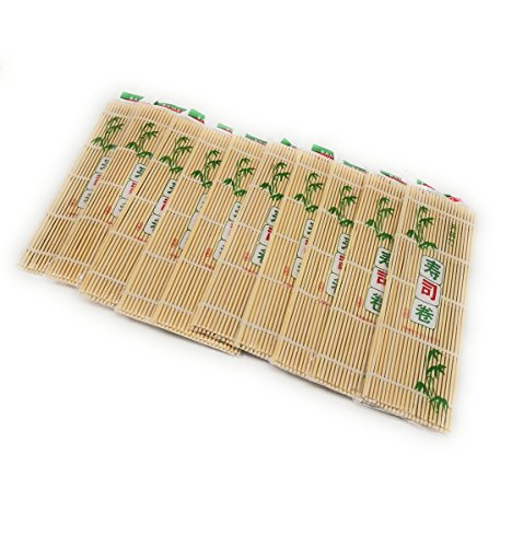 THY COLLECTIBLES Sushi Making Rolling Mat Natural Bamboo 9.5