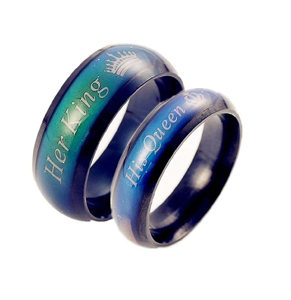 Amazon Stainless Steel Mood Ring Her King His Queen Crown Emotional Change Color Temperature Feeling Promise Engagement Wedding Band Jewelry: Mood Ring Wedding Ring At Reisefeber.org