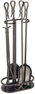 Pilgrim Home and Hearth 18043 Iron Gate Fireplace Tool Set, 28″H, 18 lbs, Burnished Black
