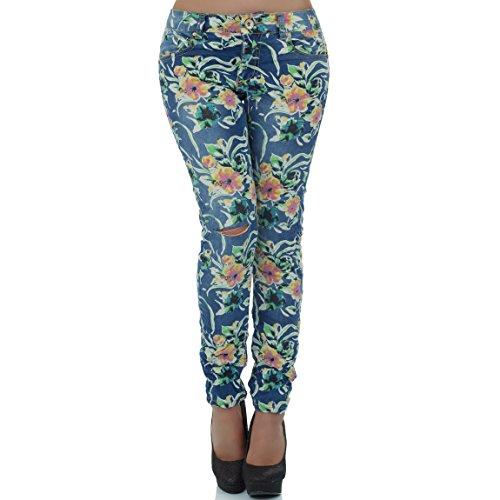malucas - Jeans - Skinny -  Fleurs - Femme Bleu