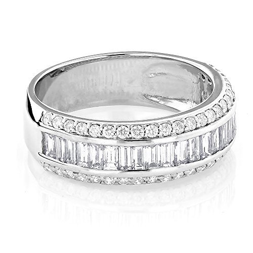 Luxurman Unisex 14K Round Baguette Natural Diamond Wedding Band For Him And Her (White Gold Size 8)