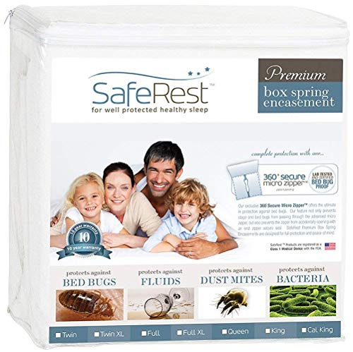 SafeRest Premium Box Spring Encasement - Lab Tested Bed Bug Proof, Dust Mite Proof and Waterproof - Hypoallergenic, Breathable, Noiseless and Vinyl Free - Queen Size (Mattress Box Encasement And Spring Sets)