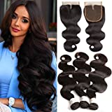 Cheap Brazilian Body Wave Human Hair 3 bundles With Closure (24 26 28 with 20) 9A grade Unprocessed Virgin Remy Hair Weave Weft with 4×4 Middle Part lace closure