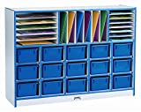 Rainbow Accents Mobile Cubbie Storage Unit w Edge Banding (w/o Trays & w/ Green Edge Band)