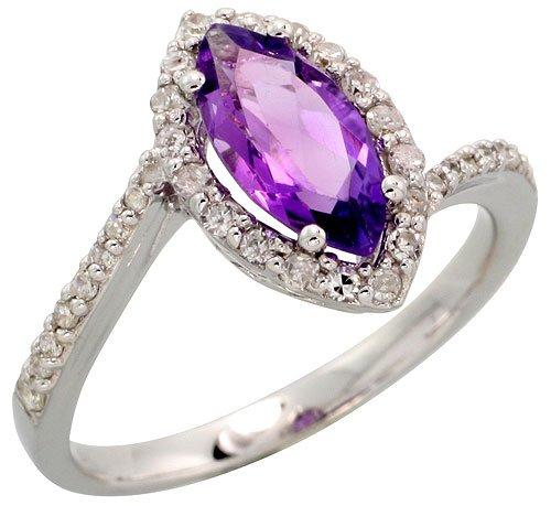 Stone Ring, w/ 0.32 Carat Brilliant Cut Diamonds & 1.17 Carats 10x5mm Marquise Cut Amethyst Stone, 1/2