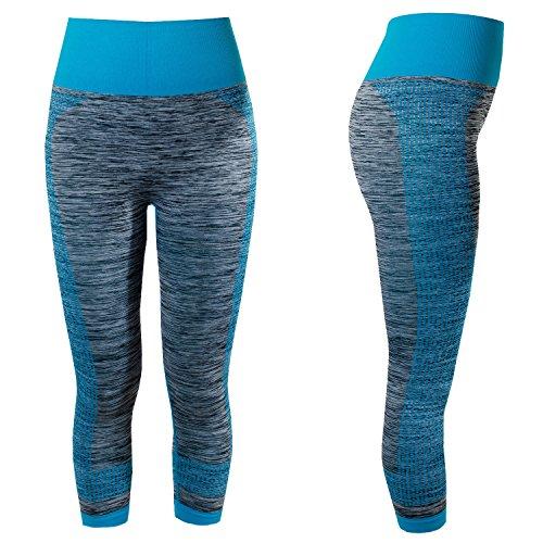 L & K de II mujer Deporte Pantalón luafhose Yoga 3/4Leggings Strech Pantalones de fitness 4112 azul claro