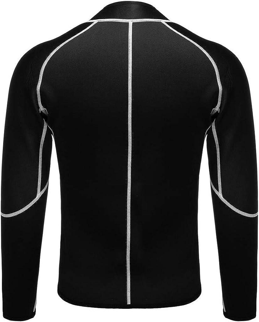 OFEFAN Men Sweat Neoprene Weight Loss Sauna Suit Workout Shirt Body Shaper Fitness Jacket Gym Top Clothes Shapewear