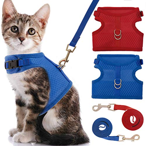 Escape Proof Cat Harness with Leash Set - Breathable Mesh and Adjustable Walking Jacket - Blue and Red