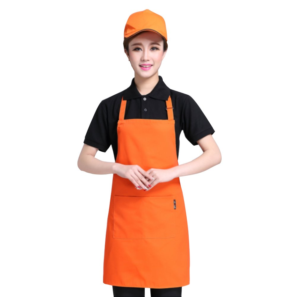Two Pockets Adjustable Bib Adult Apron - Extra Long Ties - Heavy duty kitchen apron, Money apron, Waitresses apron - Cooking Kitchen Aprons for Women (Orange, 29.5'' x 24.5'')