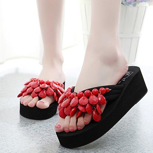 de grueso antideslizante calzado Señoras y playa zapatillas Sandalias moda chanclas inferior gules mujer Zapatillas 17xgZ