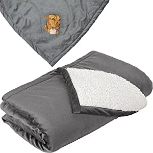 Cherrybrook Dog Breed Embroidered Mountain Lodge Reversible Blanket - Gray - American Staffordshire Terrier 4