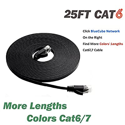 BlueCube Network - Flat CAT6 Ethernet Cable, 25 Feet RJ45 Flat Ethernet Patch Cable, Internet Cable, Network Cable with Snagless RJ45 Connectors - 25 Feet Black