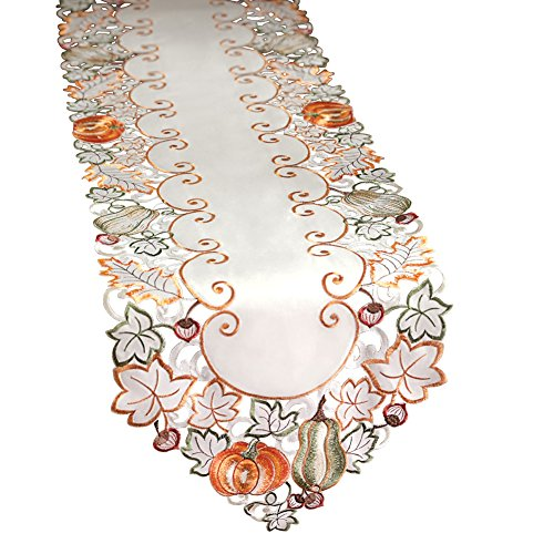 Collections Etc Autumn Harvest Diecut Decorative Table Linens, Runner (Blocks Thanks Give)