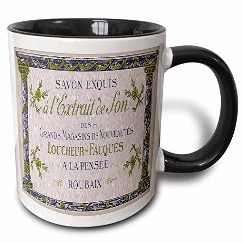 (3dRose BLN Vintage Perfume and Toiletry Labels and Posters - Savon Exquis Grands Magasins De Nouveautes Art Nouveau Perfume Poster - 15oz Two-Tone Black Mug (mug_153594_9))