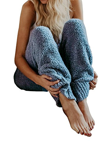 Nulibenna Womens Knitted Casual Soft Sleep Lounge Pants Loose Fluffy Fuzzy Pajama Pants