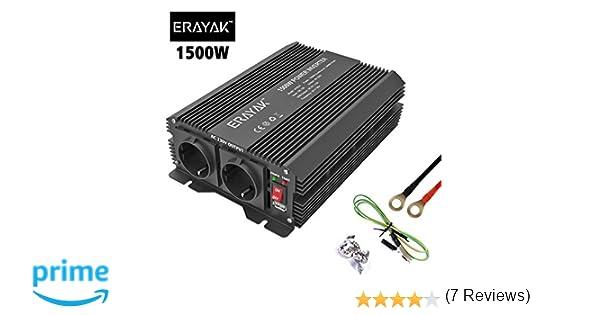 ERAYAK Inversor de Corriente 2000W 12v 220v con Puerto USB con 2 AC Tomas y Encendedor Convertidor Onda Sinusoidal para Autom/óviles