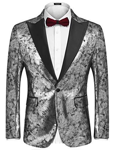 COOFANDY Men Stylish Silver Metallic Suit Blazer Tuxedo for Party Prom Nightclub -