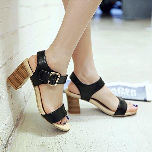 Carolbar Womens Buckle Retro Fashion Simple Chunky Mid Heel Sandals Black RyhKzF