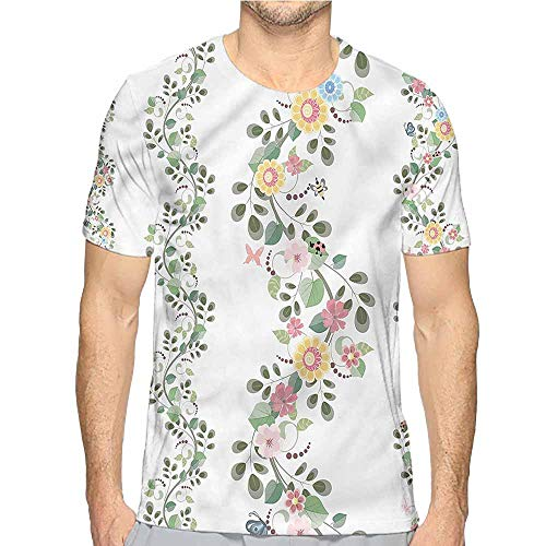 Ivy T-shirt Over - t Shirt for Men Floral,Ivy Plant Blossoms Leaves Custom t Shirt S