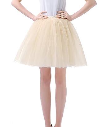 dd929397486b Facent Damen Kurz Tutu Tüllrock Petticoat Kleid Minirock Tütü Ballerina Tüll  Rock Reifrock Champagner