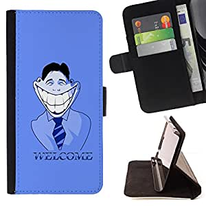 DEVIL CASE - FOR LG Nexus 5 D820 D821 - Big White Smile Welcome Sign Hypocrisy Art - Style PU Leather Case Wallet Flip Stand Flap Closure Cover