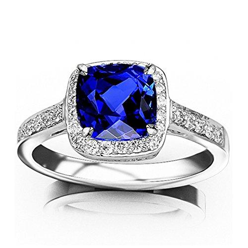 0.73 Carat t.w 14K White Gold Classic Square Halo Single Row Pave Set Diamond Engaement Ring w/a 0.5 Carat Cushion Cut Purple Tanzanite Heirloom Quality