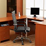 Furmax Ribbed Office Desk Mid-Back PU Leather