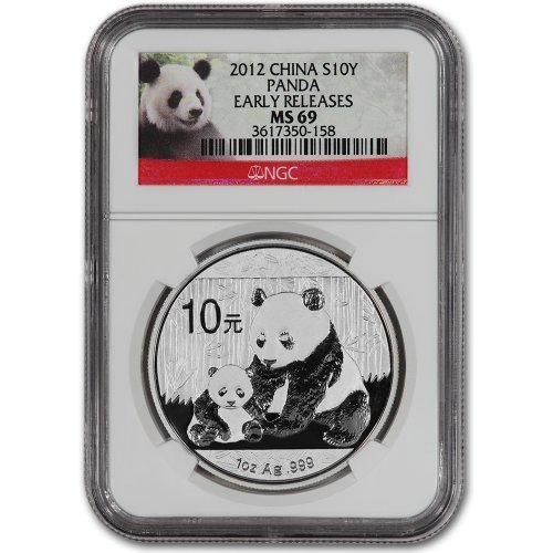 2012 China Silver Panda (1 oz) 10 Yn - NGC MS69 - Early Releases - Red Label