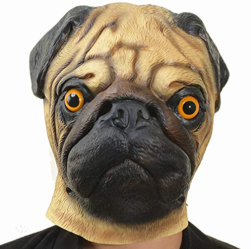 PARTY STORY Pug Dog Mask Halloween Cosplay Costume for Adults Decoration Props Latex Fancy Dress Novelty Full Head Masks ()