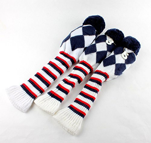 Golf Club Knit 3pcs Headcover Set Vintange Pom Pom Sock Covers 1-3-5 Blue/White/Red - 3 Sock Headcovers Pack