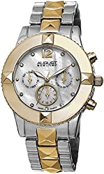 August Steiner Women's AS8107TTG Swiss Quartz Multifunction Crystal Mother-of-Pearl Silver-tone & Gold-tone Pyramid Bracelet Watch