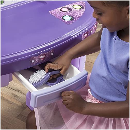 Step2 Pretty & Posh Vanity with Stool | Kids Pretend Play Vanity Set