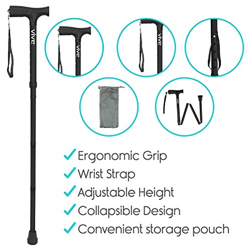 Vive Folding Cane - Foldable Walking Cane for Men, Women - Fold-up, Collapsible, Lightweight, Adjustable, Portable Hand Walking Stick - Balancing Mobility Aid - Sleek, Comfortable T Handles (Black) by VIVE (Image #9)