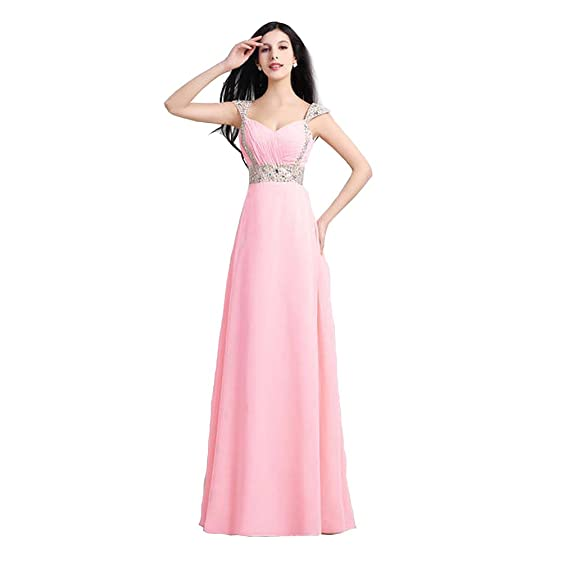 Amazon.com: HHBY Women\'s Elegant Crystal Long Prom Dress 2015 ...