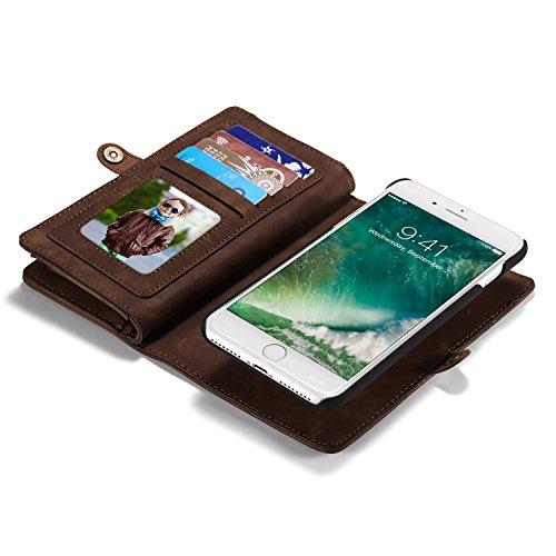 Roreikes Apple iPhone 7 Plus Custodia, iPhone 7 Plus Cover (5.5 pollici) Case, multi-funzione di portafoglio caso della copertura 2 in 1 Custodia in pelle staccabile Custodia protettiva vibrazione del