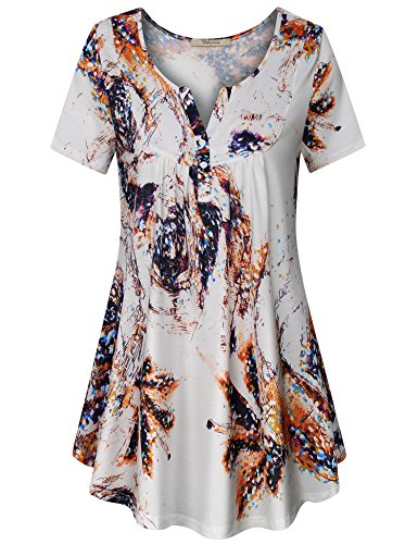 - Bebonnie Women's Vintage Short Sleeve V Neck Pleated Tunic Shirt White Gold L