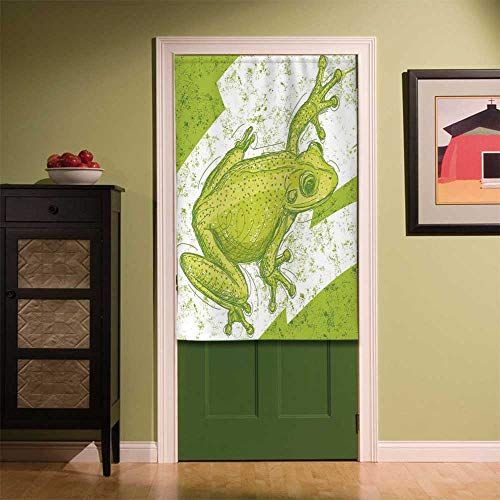 YOLIYANA Animal Decor Fabric Art Door Curtain,Graphic Print of a Frog on Blur Dirty Grunge Background Exotic Tropic Nature Element for Locker Room Store Privacy Space,35.43''W x 55.12''H