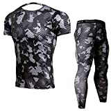 Men's Outdoors Short Sleeve Suit Fashion Sports Short Sleeve Tops&Pants for Run