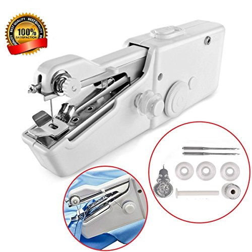 Portable Handheld Mini Sewing Machines Stitch Sew Needlework Cordless Clothes Fabrics Electric Sewing Machine For Household by Bezesiz