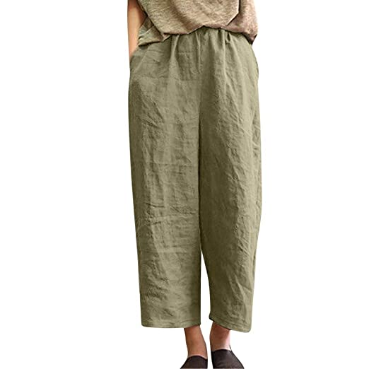 77c87ef2ac7250 Women Pants Women Ladies Casual Flax Cotton and Linen Loose Nine Point Wide