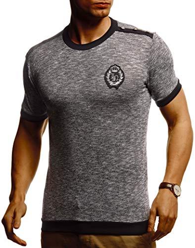 Leif Nelson Herren Sommer T-Shirt Rundhals Ausschnitt Slim Fit Baumwolle-Anteil Cooles weißes schwarzes Basic Männer T-Shirt Crew Neck Jungen Kurzarmshirt O-Neck Kurzarm Sleeve Top Lang LN5070T
