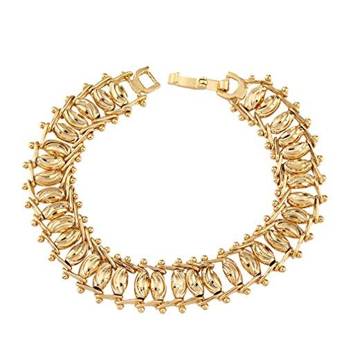 YAZILIND 18K Charming Elegant Gold Plated Bead Women Fashion Bracelet Chain Link Wedding Jewelry Gift