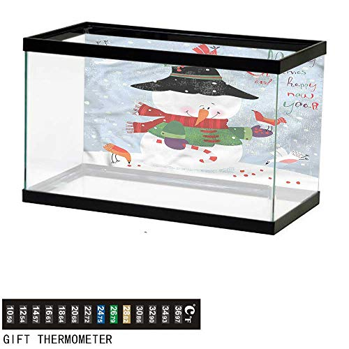 Suchashome Fish Tank Backdrop Snowman,Xmas New Year Grunge,Aquarium Background,36